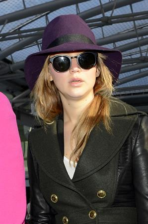 Jennifer Lawrence - Hot hat and glasses at Heathrow Airport in London (08.02.2013)