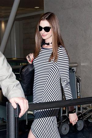 Anne Hathaway at LAX airport on August 15, 2011