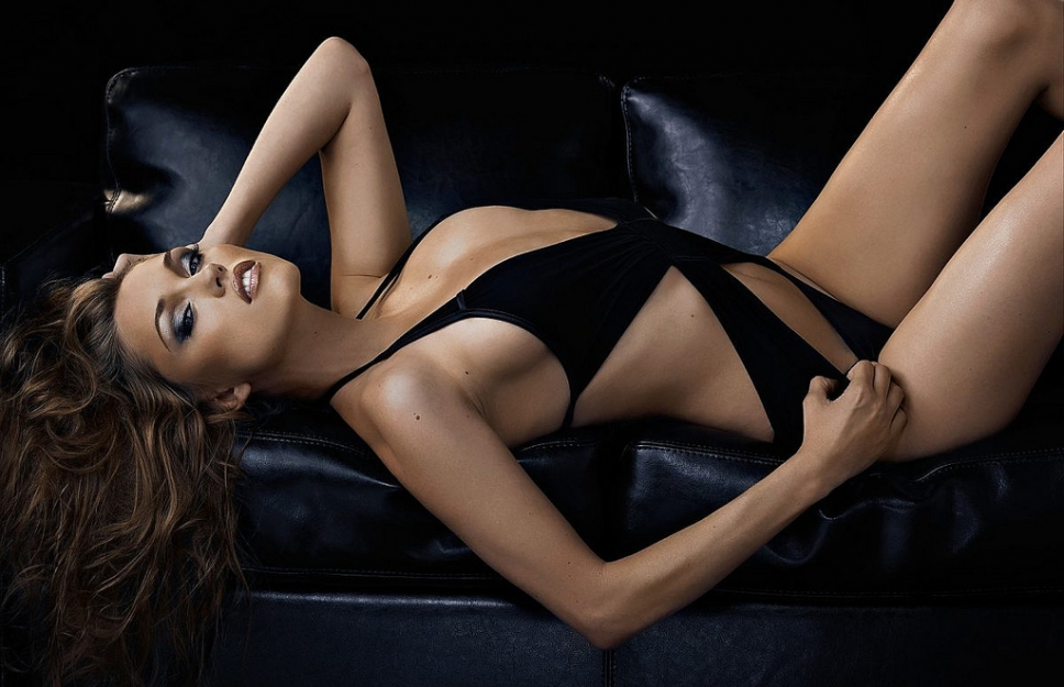 Clare Grant in a bikini