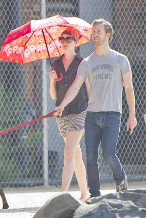 Anne Hathaway out about in New York City on August 2, 2012