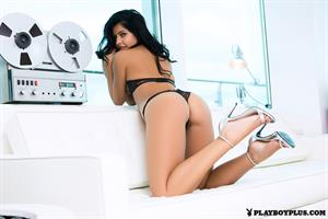 Playboy Cybergirl Kara Monaco plays with recording equipment