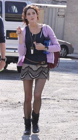 Ashley Greene on the set of Americana in New York City on March 19, 2012