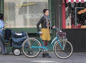 Ashley Greene on the set of Americana in New York City on March 14, 2012