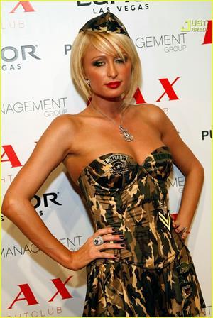 Paris Hilton in Army Halloween costume