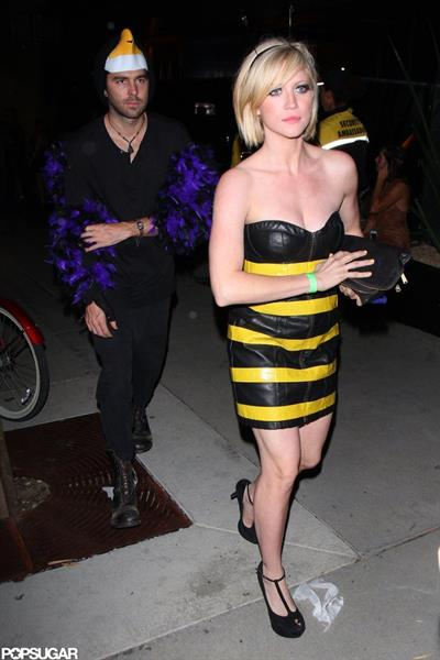 Brittany Snow as a bumble bee for Halloween