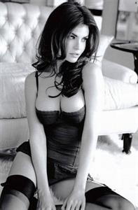 Black and white picture of Julia Lescova in lingerie