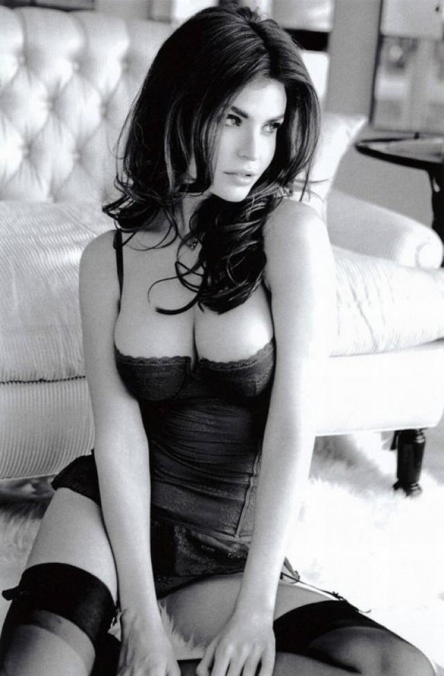 Black and white picture of Julia Lescova in lingerie