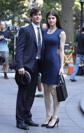 Alexandra Daddario on set of white collar in New York City on August 26, 2010