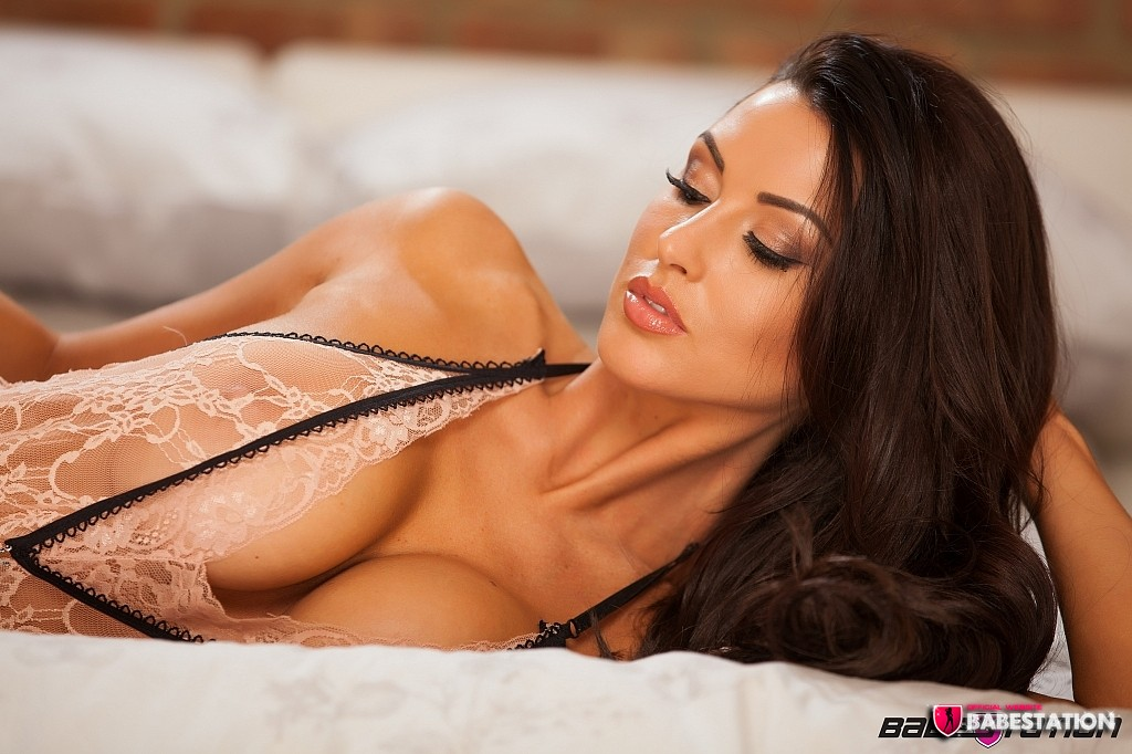 Alice Goodwin in Black Heels and Lacy See Through Lingerie