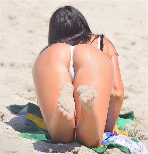 Claudia Romani at the beach in Miami