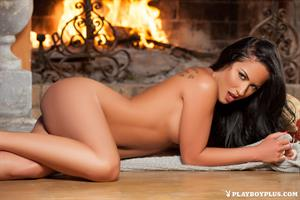 Playboy Cybergirl - Barbara Desiree Nude by the fireplace for Playboy Plus!