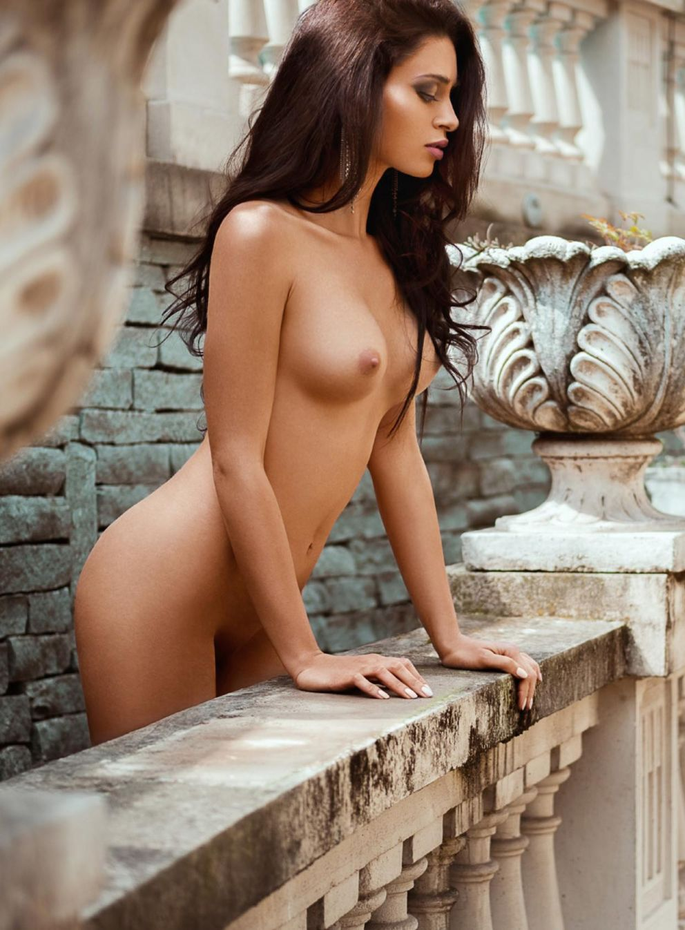 Lascivious brunette nude