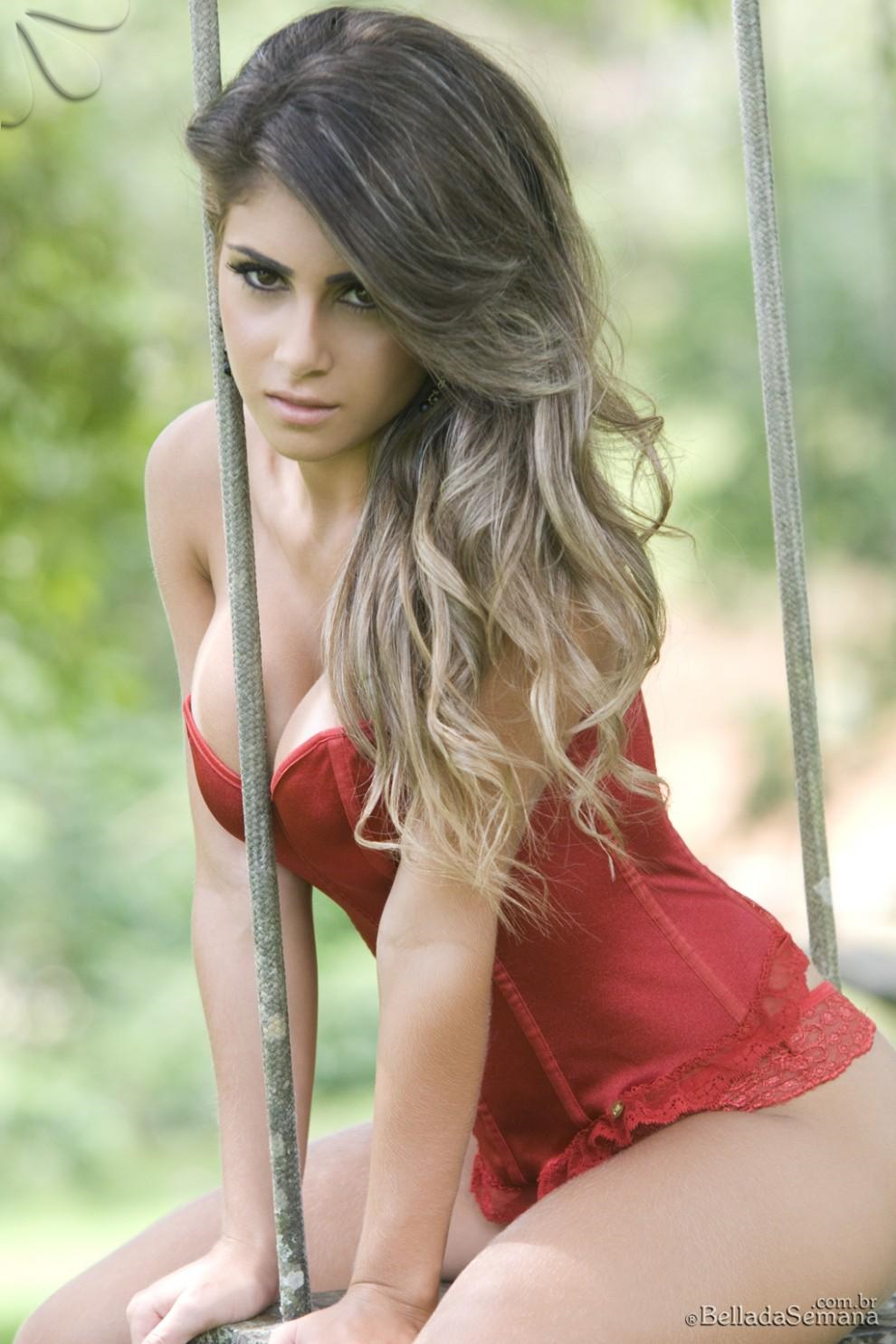 Paula Rebello in lingerie