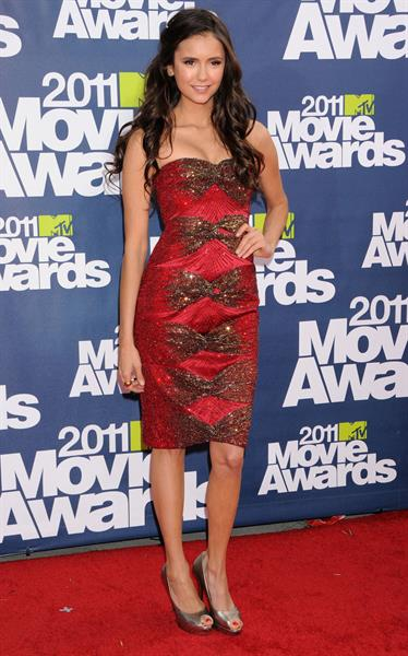 Nina Dobrev 2011 MTV Movie awards in Los Angeles 05-06-11