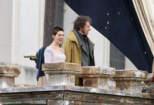 Anne Hathaway on the set of Les Miserables April 18, 2012