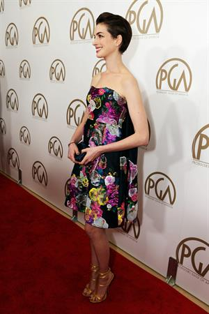Anne Hathaway 24th Annual Producers Guild Awards at The Beverly Hilton Hotel in Beverly Hills January 26-2013