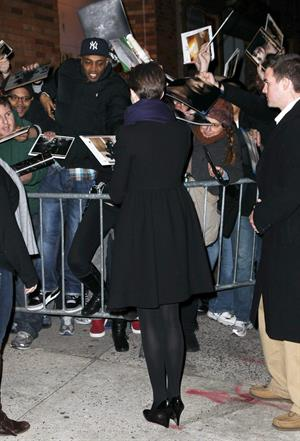 Anne Hathaway outside of The Daily Show with Jon Stewart in NYC. January 7-2013