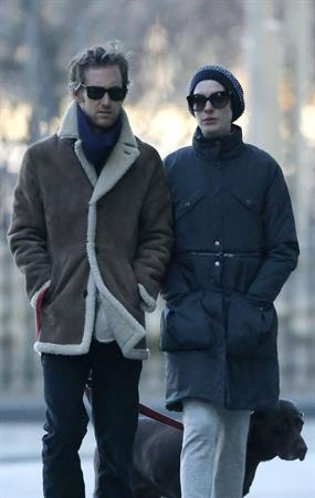Anne Hathaway - out for a walk in NYC 1/8/13