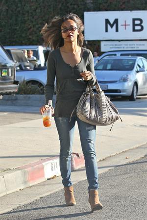 Zoe Saldana leaving a hair salon in West Hollywood - November 2, 2011