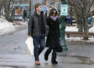 Zoe Saldana - Enjoyed a stroll with her boyfriend Keith Britton in Aspen, Colorado Dec 21, 2010