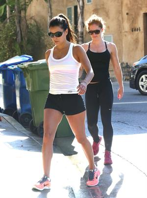 Eva Longoria in shorts at a gym in Hollywood 23.08.13