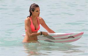 Alessandra Ambrosio paddleboarding in bikinis in Honolulu on October 12, 2011