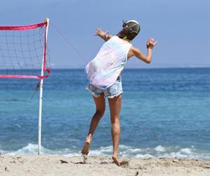 Alessandra Ambrosio playing beach volleyball in Malibu on July 7, 2012