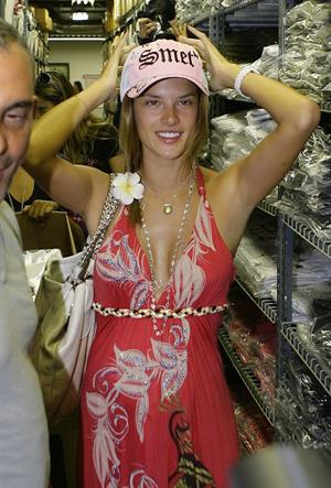 Alessandra Ambrosio shopping at Christian Audigier's Ed Hardy Store in Los Angeles