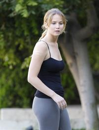 Jennifer Lawrence in Santa Monica helping a woman who fainted on June 25, 2012