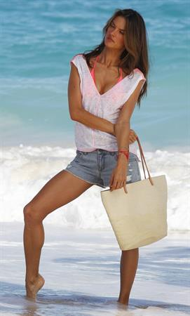 Alessandra Ambrosio at a Victoria's Secret photoshoot on the beach in St. Barts 12/16/12