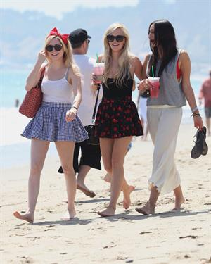 Alessandra Torresani on the beach in Malibu on July 4, 2011
