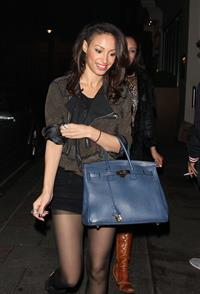 Amelle Berrabah leaving the Mayfair Hotel in London on November 11, 2011