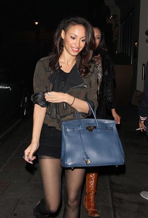 Amelle Berrabah leaving the Mayfair Hotel in London on November 11, 2011