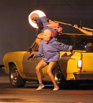 Ashley Benson and Vanessa Hudgens film Spring Breakers Florida on March 15, 2012