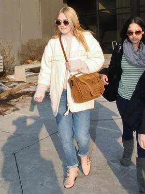 Dakota Fanning arriving in Salt Lake City to attend the Sundance Film Festival 1/21/13