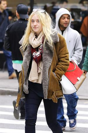 Dakota Fanning Jeans and Boots Out and About SoHo NYC (10/11/12)