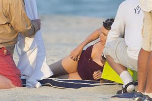 Dannii Minogue swimsuit photoshoot candids in Miami in January, 2011