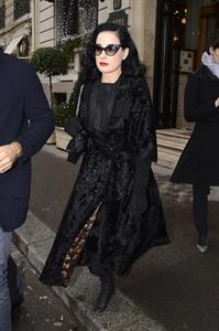 Dita Von Teese - Leaves Hotel Raphael in Paris 1/23/13
