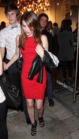 Emma Roberts in LA in a red dress 4/27/13