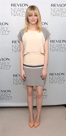 Emma Stone Revlon's Nearly Naked makeup launch in NY 12/5/12