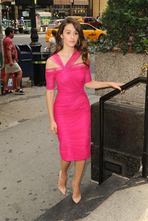 Emmy Rossum outside a hotel in New York City - August 5, 2012