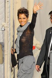 Halle Berry arrives for the Jimmy Kimmel Show in Los Angeles on March 20, 2013