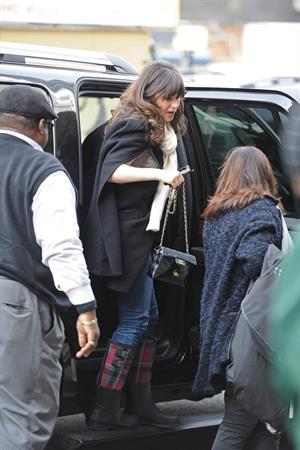 Zooey Deschanel seen out in SoHo holding a Chanel purse. November 16, 2012