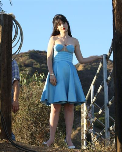 Zooey Deschanel set of photoshoot at the Sunset Ranch LA 11/03/12