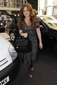 Isla Fisher leaving BBC Radio 1 studios in London on October 25, 2010