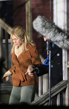 Jennifer Aniston on the set of 'Untitled Elmore Leonard Project' in Stamford, CT 2/12/13