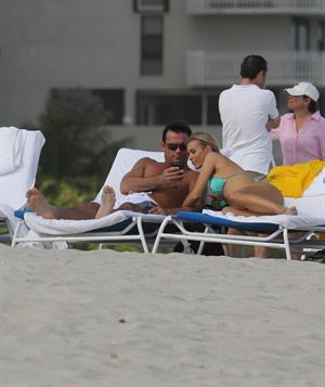Joanna Krupa bikini candids on the beach in Miami 1/1/13