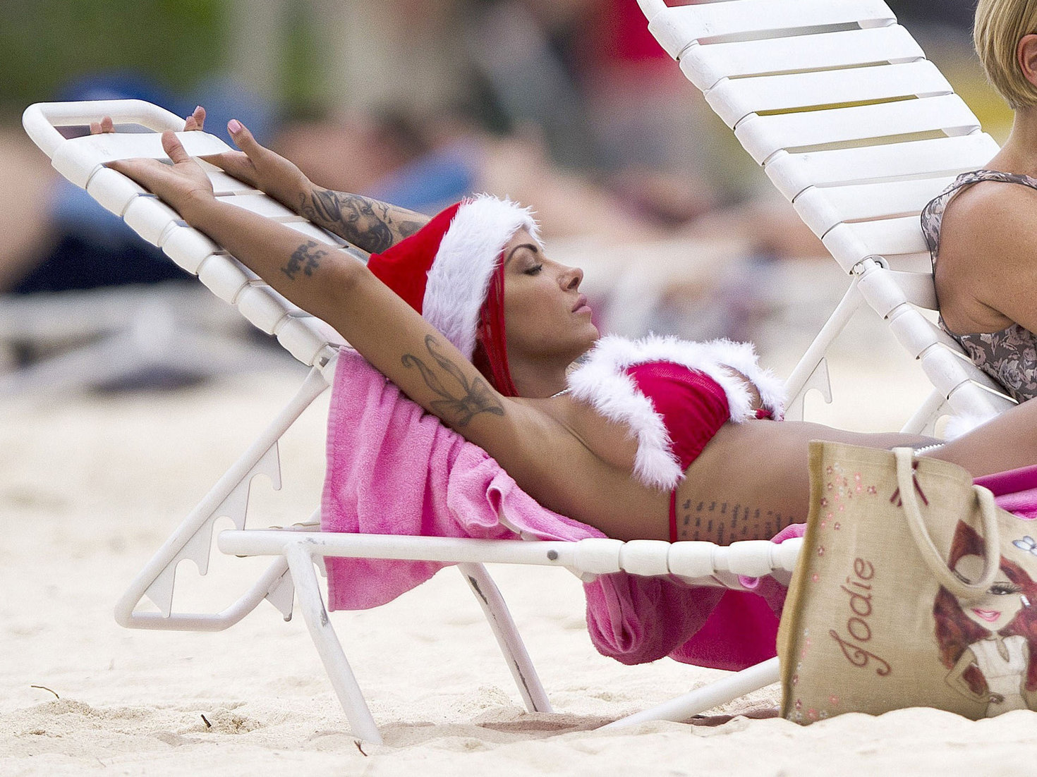 Jodie Marsh in a Santa Bikini on the beach in Barbardos on December 24, 2012