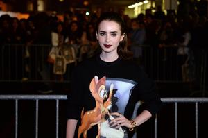 Lily Collins Givenchy Show Fashion Week 9/29/13