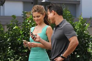 Maria Menounos on the set of 'EXTRA' at the Grove in LA on May 10, 2013